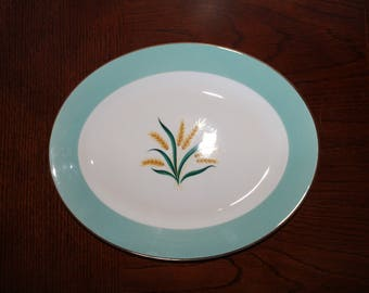 Vintage Viking Serving Platter, Vintage China, Alliance, Ohio China, Viking China Platter, Listing For 1, Wheat Theme Oval Platter