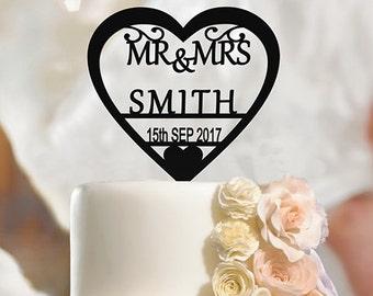 Personalised Wedding Cake Topper Mr & Mrs, Custom Name Heart, Surname, Date