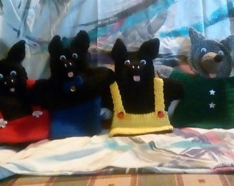 3 Little Pigs and Big Bad Wolf Crocheted Hand Puppets