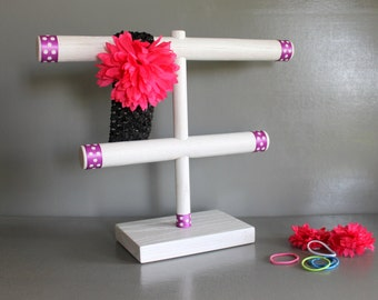 Soft Headband Organizer Antique White with Purple Polka Dots, Hair Bow Holder, Bracelet Holder, Craft Show Display, Baby Shower Gift New Mom