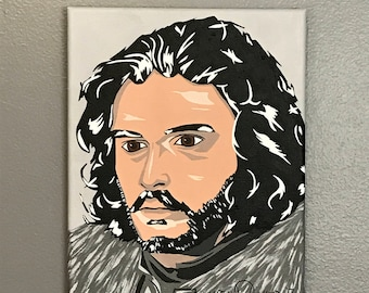 "8""x10"" ORIGINAL ""Jon's Game"" acrylic pop art painting - Jon Snow Game of Thrones GOT Winterfell Dire Wolf The Wall Winter HBO"