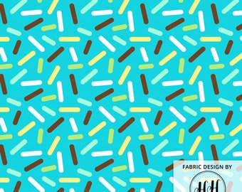 Blue Donut Sprinkle Fabric by the Yard / Baby Boy Fabric / Cute Donut Fabric / Ice Cream Fabric / Doughnut Ditsy Print in Yard & Fat Quarter