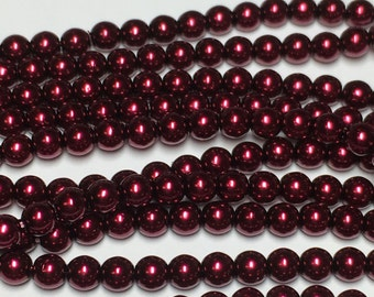 120 4mm Round Preciosa glass pearls, burgundy