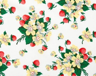 SALE Verna Mosquera, Strawberry Bouquet in Cloud , Quilting Cotton Fabric Canada/ half yard