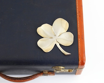 Vintage Lucky Four Leaf Clover by Gerity / 24 Karat Gold Plate Clover Paperweight / Golden Four Leaf Clover