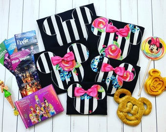 Minnie Mouse Disney Family Vacation Trip T-Shirt Black White Stripe Rose Floral Tee Tank Onesie Shirts Matching