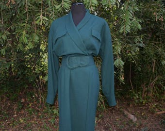 Vintage hunter green shirt dress by Classiques