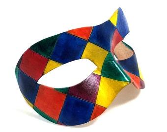 Elegant Multi-Colored Diamond Leather Mask - Masquerade Mask Inspired by the Venetian Commedia dell'Arte for Mardi Gras and Balls