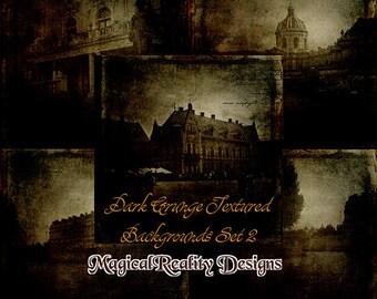 Dark Grunge Textured Backgrounds {SET 2}   Artistic Use - Digital Scrapbooking - Vintage- Grunge Papers - Textured Papers - JPG-Goth