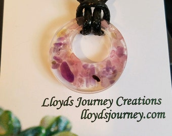 Donut Pendant with Rose Quartz and Amethyst
