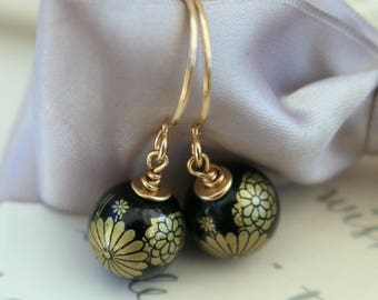 Black Flower Tensha Bead earrings on Gold filled earwires