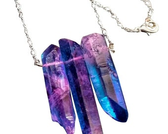 3 Large Purple and Blue Quartz Drop Necklace on Silver Figure 8 Chain