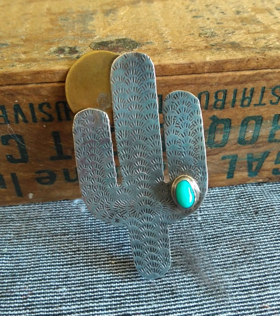 Adorable vintage cactus brooch sterling silver turquoise southwest moon