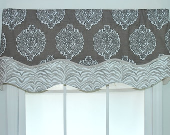 Medallion Shaped layered valance with trim in brown and grey
