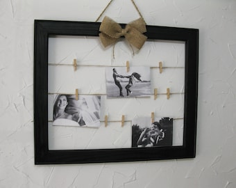 Wood rustic photo clothespin frame, memo board, picture holder, wedding chart, message board, jewelry hanger