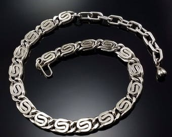 """Vintage 50s Necklace """"S"""" Link Silver Chunky Midcentury Couture Estate Jewelry"""