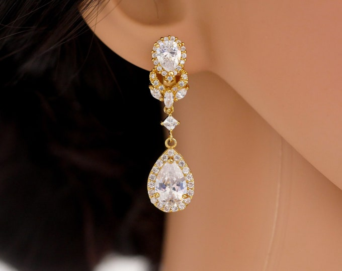 Crystal teardrop earrings, silver or rose gold, pierced or non pierced ears wedding earrings, bridal jewelry, mother  bride, Prom earrings