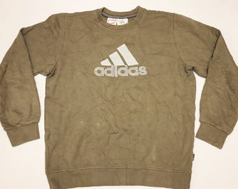 Vintage Adidas Jumper Green Sweatshirt XS