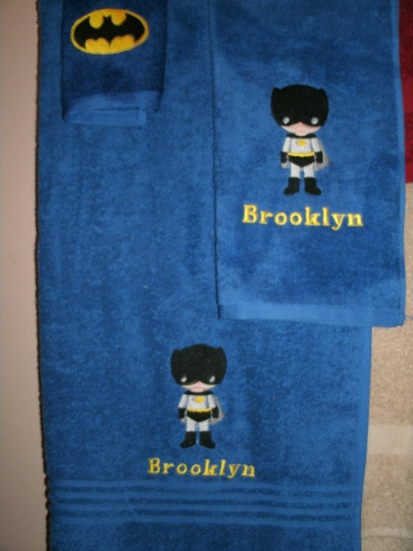 Batman Boy Personalized Batman 3 piece Bath towel hand towel