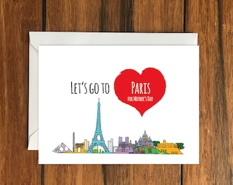 Let's Go To Paris For Mother's Day Blank greeting card, Holiday Card, Gift Idea A6