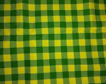 Yellow and Green Gingham Checked Fabric