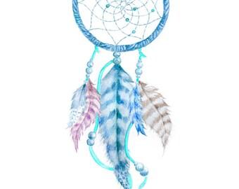 BLUE DREAMCATCHER PRINT, watercolor Dream Catcher, Wall Art, Dreamcatcher  Print, Dreamcatcher Wall