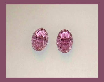 ANTIQUE SCARAB BEETLES – French Pink Amethyst Glass Pre World War Two – Matching 14 x 10 Millimeter Ovals