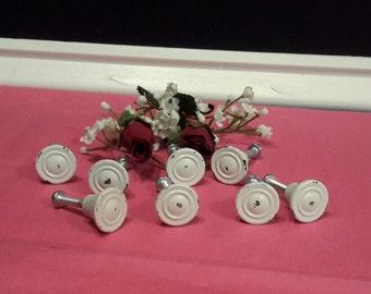 White Shabby Drawer Knobs, Small White Knobs, White Drawer Pulls, Round Drawer Knobs, Upcycled Knobs, Home Improvement, Gift Giving
