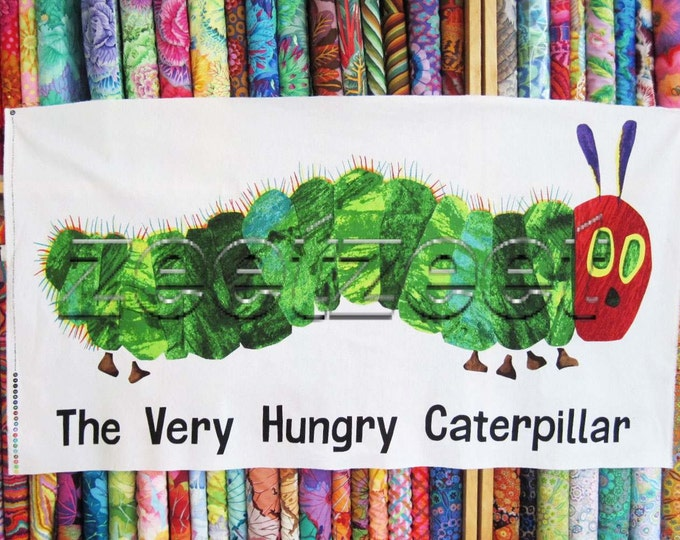 "LARGE CATERPILLAR Very Hungry Panel Quilt Fabric - by the 24"" Panel Cotton From Book Series for children"