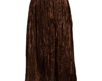 Yves  Saint Laurent  Russian Collection Brown Velveteen Skirt 1977s