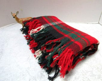 Vintage Plaid Stadium Blanket, Camp Cabin Decor Tartan Green + Red, Troy Mills, Lodge Cabin Classic Warmth USA College Football Tailgate