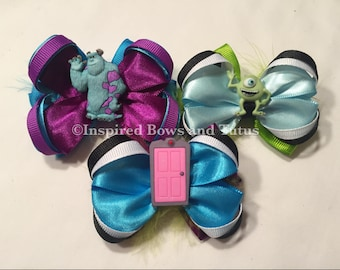 Set Of Three Monsters INC. Inspired Mini Hair Bows