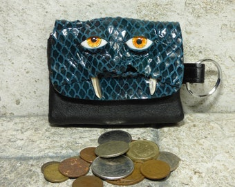 Zippered Coin Purse Change Purse Turquoise Black Leather Monster Face Pouch Key Ring Harry Potter Labyrinth 25