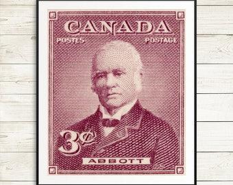 John Abbott, Third Prime Minister of Canada, Canadian History, history classroom, classroom decor, canada decor, vintage canadiana posters