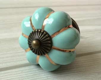 Blue Pumpkin Knobs Kitchen Cabinet Knobs Dresser Knob Drawer Knobs Pulls Handles Ceramic Porcelain / Antique Bronze Decorative Hardware