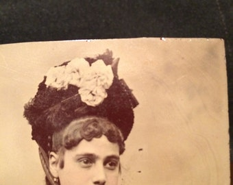 Tintype Girl With Rose Flowered Hat - Antique Photo - Old Photo - Vintage Photo