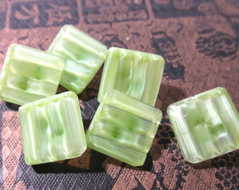 Green Moonglow Buttons VINTAGE Green Glass Ridges Square Six (6) Green Moonglow Glass Vintage Button Jewelry Supply (N106)