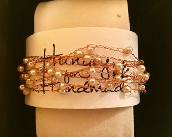 Multi strand copper bracelet with pearl beads