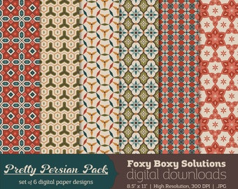 Persian Patterns Digital Papers - Set of 6 JPEG Files - Printable Geometric & Floral Designs for Scrapbooking and Crafting