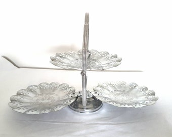 Two Tiered Decorative Pressed Tin Cake Stand