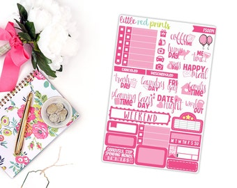 Hot Pink Functional Sampler, Planner Stickers for the Erin Condren Life Planner, Sampler Sheet - [FS0014]