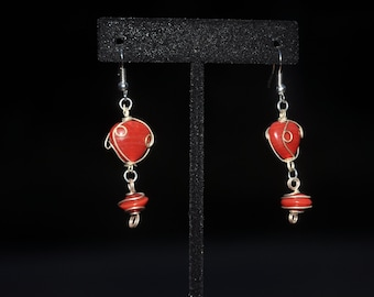 wired wrapped red heart dangle earrings