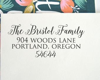 Calligraphy Custom Address Stamp | Custom Rubber Stamp | Return Address Stamp | Address Stamp | Self Inking stamp | Wood block stamp, No. 29