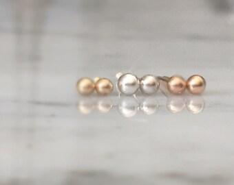 Tiny 2mm Gold Stud Earrings Post Earrings 14k, 18k, Rose, White, Yellow Gold