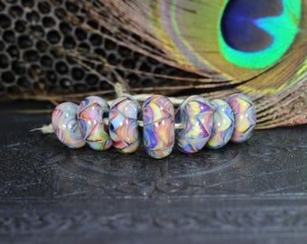 Pink & blue, Blown glass, borosilicate, glass, focal, artisan, beads, handmade, lampworked, jewelry supplies, bead set of 7, ready to ship.