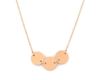 Real 14k Solid Gold Triple disc necklace, Gold necklace, Jewelry, Gold discs, gold, 14k gold disc, special tiny gift idea, engrave discs,