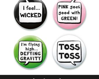 Wicked inspired Button, Pin, Badge, Pin Badge, Button Badge, Quotes Set 45mm