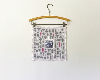 Mid Century Tammis Keefe Handkerchief - Pink / Grey Vessels / Glass Dishes / Still Life