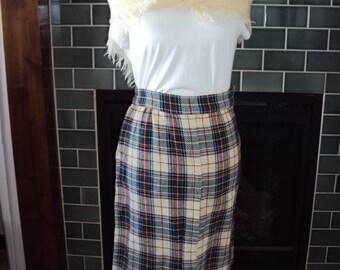 1960s-70s Womens Wool/Wool Blend Tartan Plaid A Line Skirt/Ivory Wool Scarf Size XS-S/Green, Blue Ivory, Red Plaid Skirt/ 60s A Line Skirt