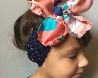 Navy, teal, pink and grey, Silk Flower elastic Headband for baby, toddler or adult